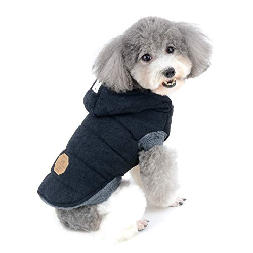 Ranphy Cotton Fleece Small Dog Jackets Hoodie for Cold Weather Girl Boy Puppy Cat Winter Coat Sweater 2 Leg Hooded Outfits Pet Soft Vest Clothes Apparel for Chihuahua Poodle Teacup Dog Black S
