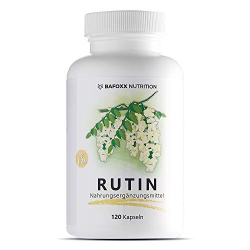 BAFOXX Nutrition® Rutin Kapseln hochdosiert - 120 Stück für 4 Monate - Naturprodukt mit 450 mg Rutosid (Vitamin P) - vegan und ohne Zusatzstoffe - deutsche Markenqualität