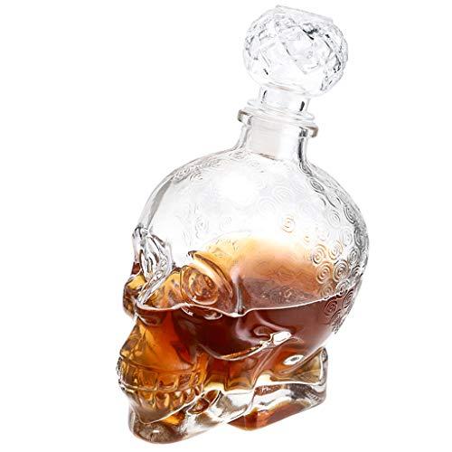 Skelang Decantador de licor de calavera, botella de cristal transparente, decantador de Halloween para whisky, vodka, brandy, ginebra, capacidad de 750 ml