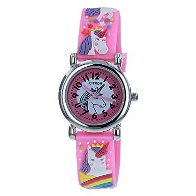 Citron KID175 - Reloj analógico para niñas 3D, diseño de unicornio, color rosa