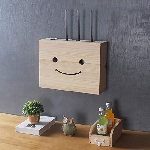 KATLY Holzregale WiFi Router Lagerung Regal Wandschrank Storage Rack Set Top Box Kabelbox Büromöbel Ständer Nicht gestanzt Schwimmdock,B