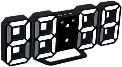 ساعة حائط LED ثلاثية الأبعاد حديثة رقمية بنظام التحكم الصوتي على سطح المكتب ومنبه درجة الحرارة الليلية وساعة حائط للديكور ...