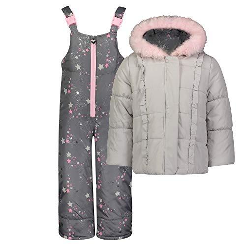 LONDON FOG - Traje de Nieve para niña con Bib y Chaqueta de Puffer, Estampado de Estrellas Fugaces Grises, 4 Años