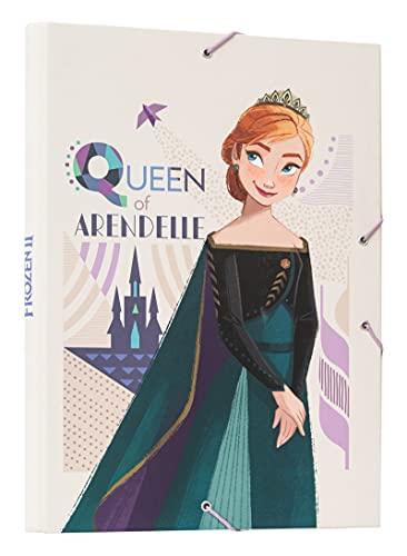 Erik® - Cartella portadocumenti A4 con chiusura elastica angolare, tre lembi, cartone - Disney Frozen 2