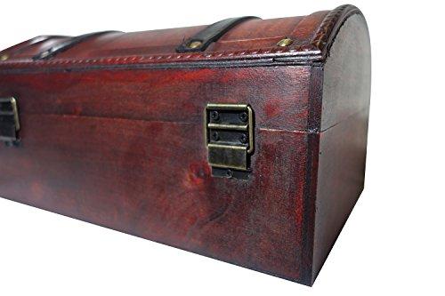 infinimo Schatztruhe – Holztruhe, Piratenkiste, Geschenk-Box verschließbar mit Deckel und Schloss mit Schlüssel, 30x20x15cm große Schatzkiste - 4