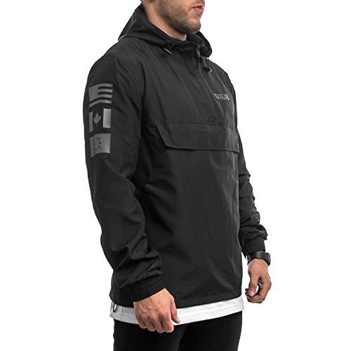 Sixlab Trademark Zipper Jacke Übergangsjacke Lifestyle Gym Fitness (M, Schwarz)