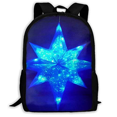 Rucksack mit LED-Beleuchtung, Weihnachtsstern-Reißverschluss, für Schule, Büchertasche, Tagesrucksack, Reiserucksack, Turnbeutel für Herren und Damen