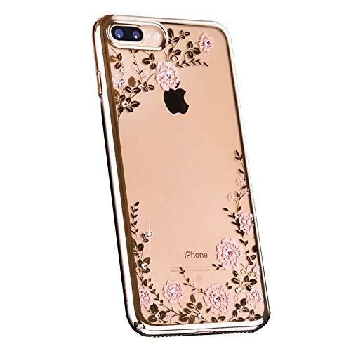 iPhone 7 Funda, iPhone 8 Funda Flor Patrón Rhinestone Swarovski Elements Parachoques Duro con Borde Suave Bumper Case para Apple iPhone 7 Plus/iPhone 8 Plus