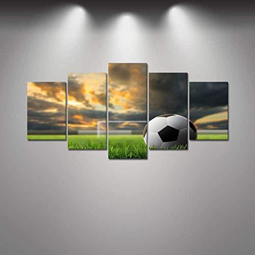 MengJing Painting Rahmen 5 Leinwand Wand Kunst Bilder Home Decor Gemälde 150 * 100 cm Landschaft eines Fußballfeldes unter dem Abendhimmel 5 Stück Leinwand gedruckt Ölgemälde Wandkunst Bild Poster Ho