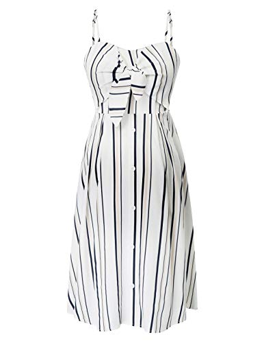 Maacie Women Maternity Striped Cami Dress Spaghetti Straps Buttons Down Dress