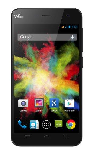 Wiko Bloom Smartphone (11,9 cm (4,7 Zoll) (WVGA 480x800 Pixel), DUAL SIM, Quad-Core 1,3GHz Prozessor, 5MP Kamera, 4GB interner Speicher - erweiterbar um 32GB mit microSD, 1GB RAM, Android 4.4 KitKat) schwarz