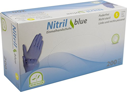 Nitrilhandschuhe 200 Stück blau, Einweghandschuhe, Einmalhandschuhe, Untersuchungshandschuhe, Nitril Handschuhe, puderfrei, latexfrei (1 Box S, blau)