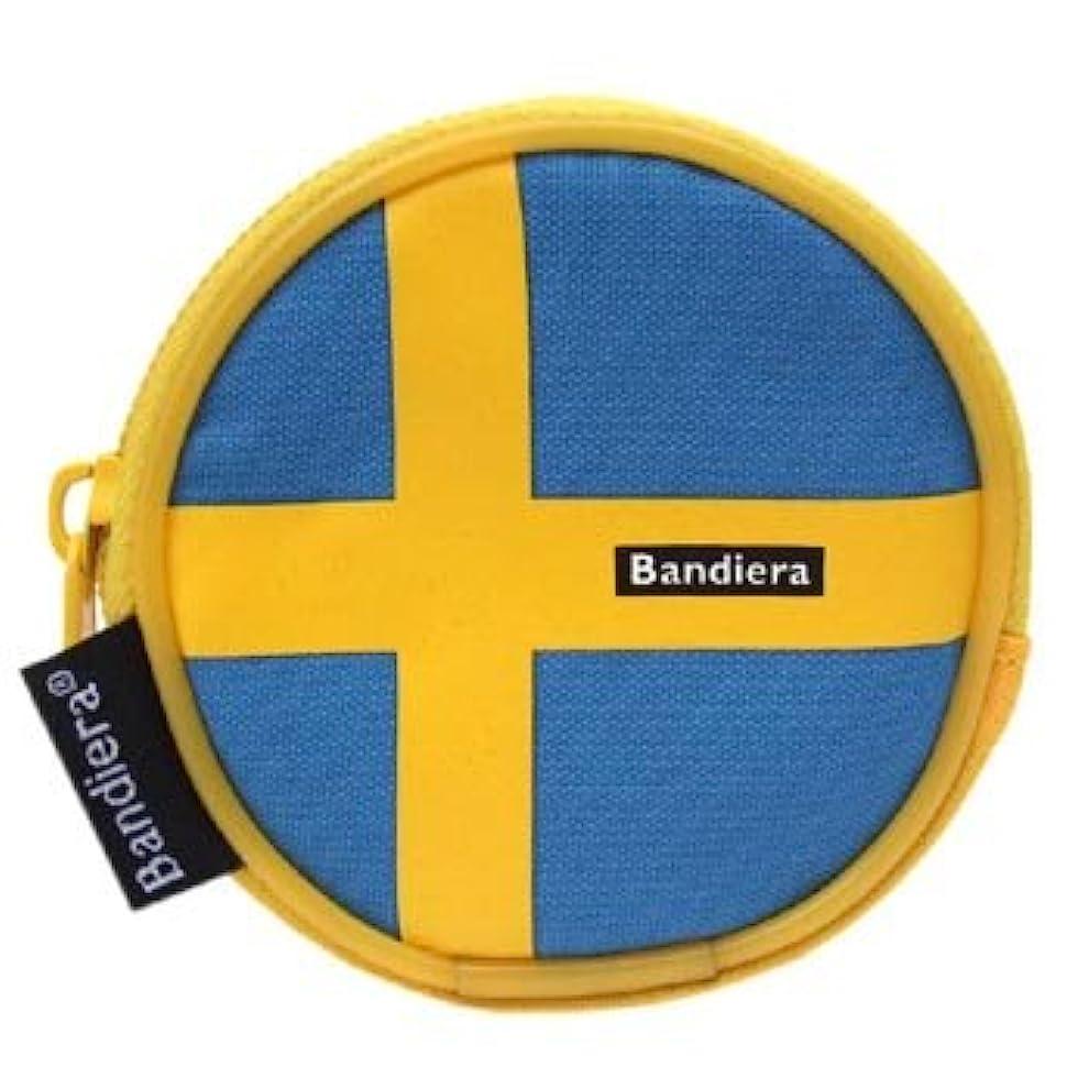 入り口有料レコーダー国旗柄 カラビナ付きコインケース スウェーデン(小銭入れ)