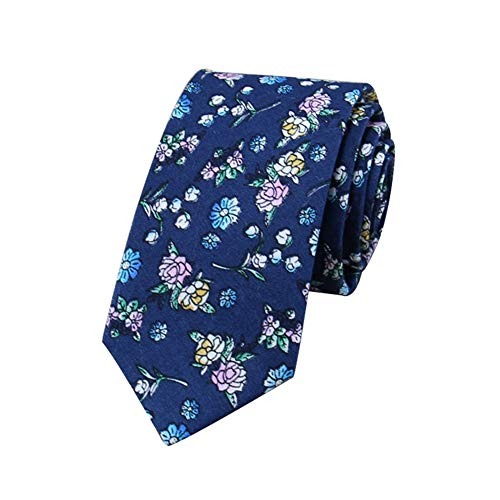 JUNGEN Corbata de Informal para Hombre Corbata Estampada de Flores Corbata Estrecha Corbata de algodón Corbata Elegante y Moda para Festival Citas Fiesta Size 148 * 6cm (Azul 2)