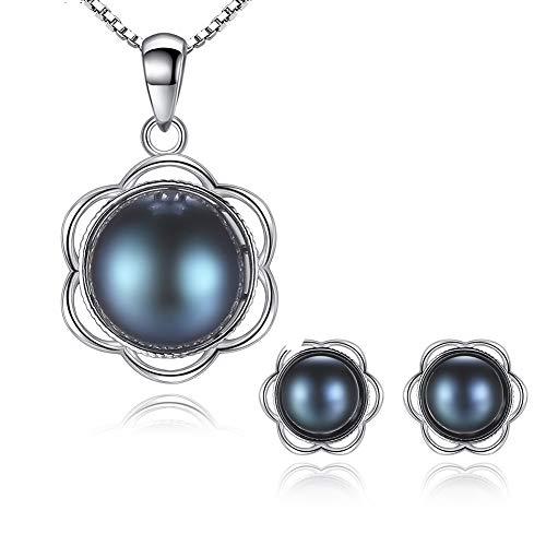 Collar Perlas Naturales De Agua Dulce Colgante Pendientes Plata De Ley 925 Elegante Joyeria Set para Aniversario Cumpleaños Regalo,FlowerSet