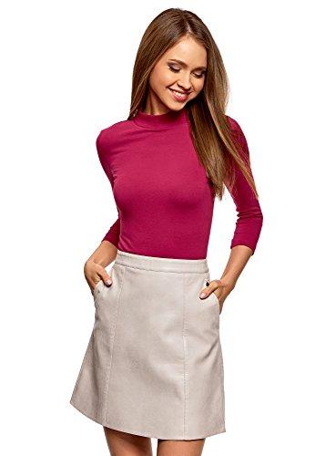 oodji Ultra Damen Baumwoll-Pullover mit 3/4-Arm und Stehkragen, Rot, DE 36 / EU 38 / S