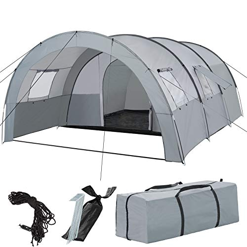 TecTake 403514 Family Tunnel Tent with Foyer, 4-6 Persons, 3000 mm Water Column, Camping & Hiking, Sport & Outdoor, Large Sleeping Cabin, 4 Windows, incl. Carrier Bag, Grey