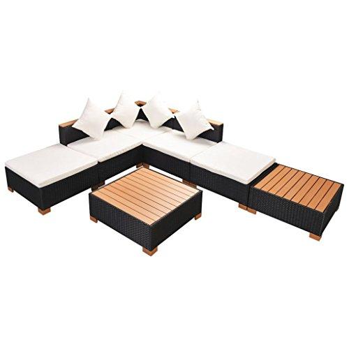 Lingjiushopping Ensemble de meubles de jardin 16 pièces en polyrotin et bois WPC noir Couleur coussins d'assise et de dossier : blanc crème