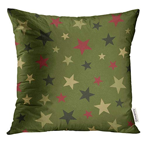 Mengghy Throw Pillow Cover Green Christmas Star Pattern Red Sage Abstract Decorative Pillow Case Home Decor Square Pillowcase 18x18 Inches