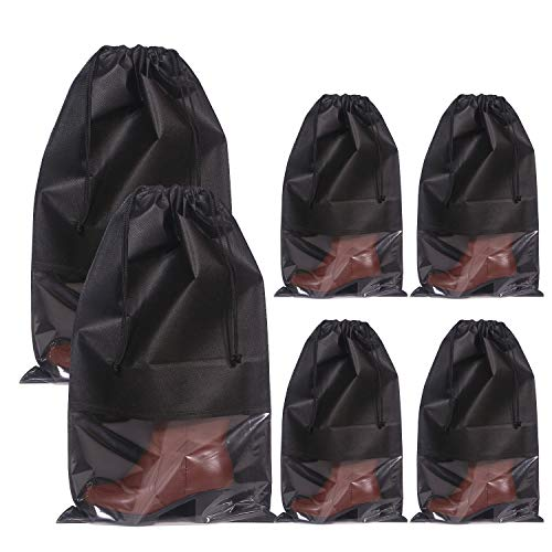 DIOMMELL Set of 6 Tall Boot Bags for Travel Non-Woven with Rope for Women Large Shoe Protector Cover Storage Organizers Pouch