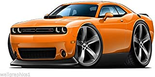2015 Dodge Challenger Scat Pak w/ Shaker Hood WALL DECAL 2ft long Vinyl Reusable Movable Fun Stickers for Boys Classic Cartoon Cars Home Decor