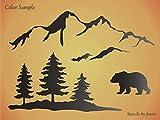 Joanie 9'W12'L Stencil Bear Snowy Smokey Mountain Range Pine Tree Rustic Lodge Cabin