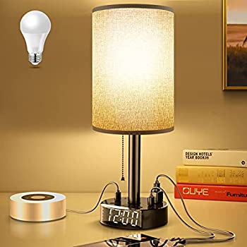 Gray Nightstand Light Lampshade 6ft Plug Extension Cord Dual USB Charging Port AC Outlet Cylinder Desk Lamp Clock Charger Bedroom Home Dorm School Office Electric Adapter Socket Reading Work Study