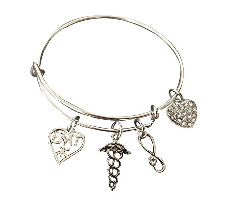Infinity Collection EMT Charm Bangle Bracelet, EMT Jewelry, Makes Perfect EMT Gifts