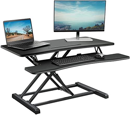 ELIVED Sitz Steh Schreibtisch 95x46cm Stehpult Aufsatz Schreibtisch für Monitor PC Computer Laptop, 37 Zoll Computertisch höhenverstellbar mit Abnehmbarer Tastaturablage, Sit Stand Workstation