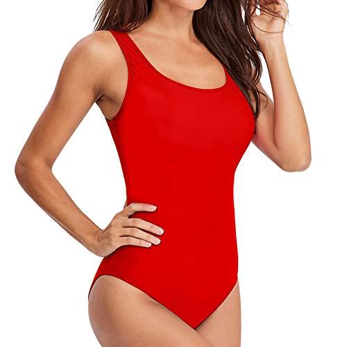BIBOKAOKE Bañador deportivo para mujer de una pieza, push-up, para el vientre, tallas grandes, con espalda descubierta, moldea la figura, traje de baño, Mujer, rojo, xx-large