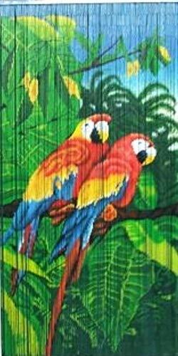 MGP Tropical Parrot Print Beaded Bamboo Curtain