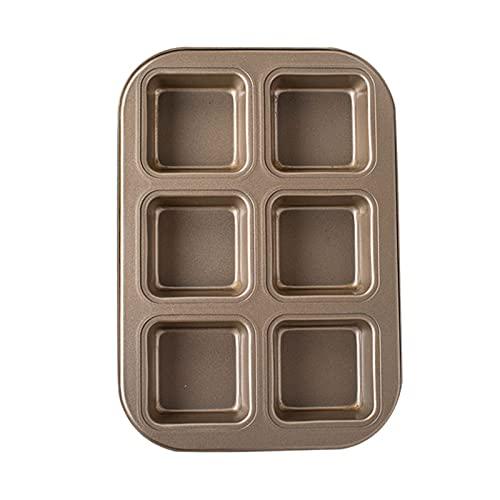 Molde para muffins de 6 tazas, molde para brownie antiadherente, molde cuadrado pequeño para magdalenas, ideal para Halloween, Navidad