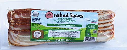 Jalapeno Sugar Free Naked Bacon - Whole30 Approved Multipack (5 packages) - Uncured Bacon, No Sugar, Nitrate Free, Keto, Paleo, WW Friendly Bacon, Lower Sodium, Lower Fat