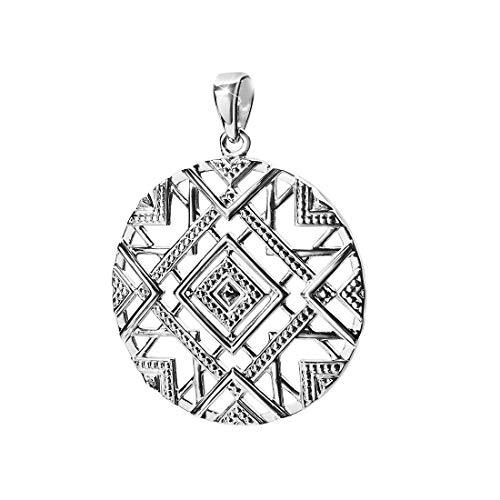 MATERIA Großer Kettenanhänger Silber 925 für Damen - Anhänger afrikanisch rund rhodiniert in Etui KA-419-ohne Kette