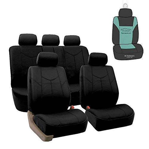 FH Group PU009115 Rome PU Leather Full Set Car Seat Covers, Airbag Compatible and Split Bench w. Gift, Solid Black- Fit Most Car, Truck, SUV, or Van