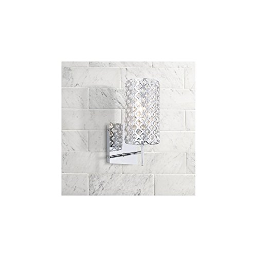 Glitz Modern Wall Light Sconce Chrome Metal Lattice Frame Hardwired 12 1/2 High Fixture Crystal Accents for Bedroom Bathroom Bedside Living Room Home Hallway Dining Kitchen - Possini Euro Design