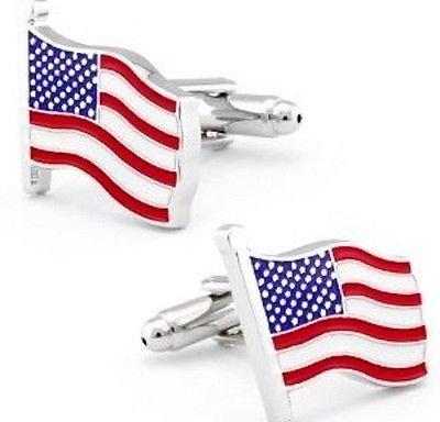 Boutons de manchette Drapeau Américain Bleu Blanc Rouge patriotisme USA