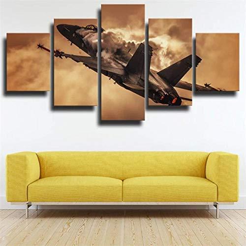 Decoración De Arte De Pared 5 Piezas Imprime En Lienzo Aviones Militares Mcdonnell HD Cuadro Estilo Abstractos Moderna Inicio Decoración Lienzos 150×80Cm Listo para Colgar Marco