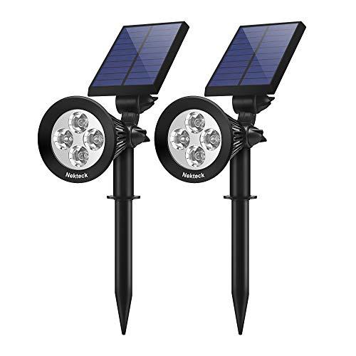 Nekteck Solar Lights,2-in-1 Outdoor Solar Spotlights Powered Adjustable Wall Light Landscape Lighting,Bright and Dark Sensing, Auto On/Off for Yard, Pathway, Walkway, Garden, Driveway