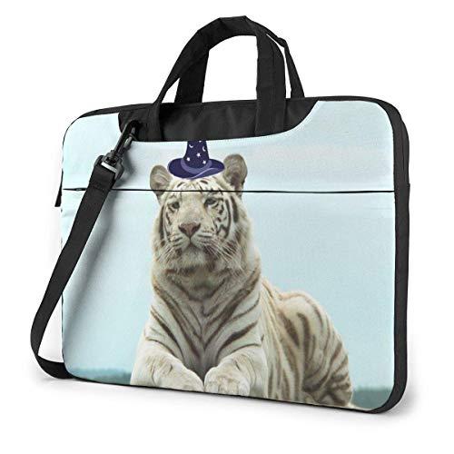 White Tiger Magician Design Laptop Sleeve Case 14 Inch Computer Tote Bag Shoulder Messenger Briefcase for Business Travel