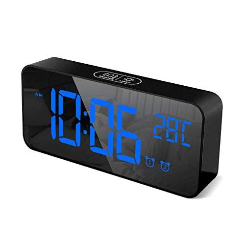 HOMVILLA Digitaler Wecker mit Große LED Temperaturanzeige, Tischuhr Spiegelalarm mit Dual Alarm Snooze Zeit 4 Stufen Einstellbarer Helligkeitsdimmer 13 Musik USB Ladeanschluss Nachttisch Schlafzimmer