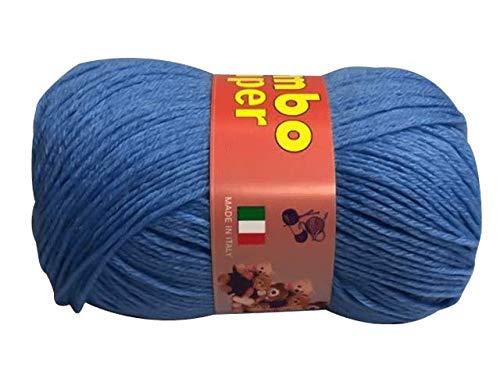 BimboSuper Gomitolo Lana Merinos 50g No Pilling - Disponibile in più Colori e Spessori - Filato Colore Azzurro (790) - 85% Lana Merinos, 15% Acrilico - No Pilling - 100% Made in Italy
