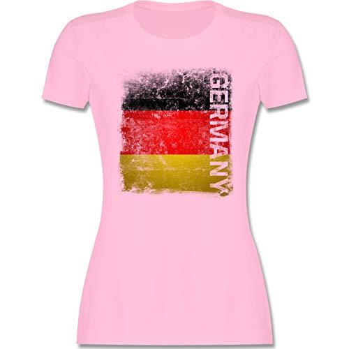 Fußball-Europameisterschaft 2020 - Germany Vintage Flagge - S - Rosa - wm t Shirt 2018 Damen Deutschland - L191 - Tailliertes Tshirt für Damen und Frauen T-Shirt