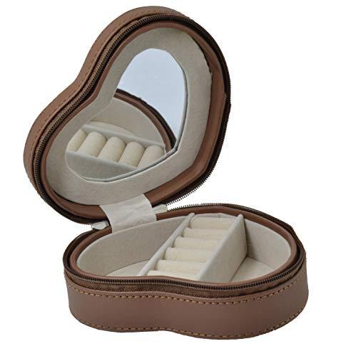Mon Amour sieradenkistje, hartvorm, van echt leer, met spiegel, 2 vakken voor sieraden en 5 ringen, met ritssluiting, geschenkdoos