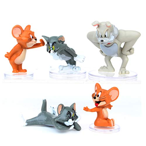 HYSTYLE 5 Pcs Tom and Jerry Figurine Birthday Cake Topper, Tom and Jerry Figure Collection Playset Doll Toy, Cake Decoration