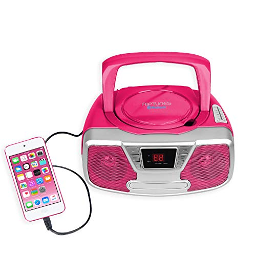 Riptunes CD Player Portable Boombox - Portable Radio AM/FM, Bluetooth Boombox, with Aux-in, Programmable Player, Pink CDB232BT