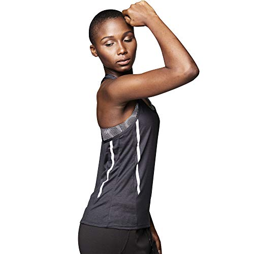 STRONG by Zumba Fitness Top Deportivo Compression Camisetas Tirantes Mujer de Entrenamiento Blusas, Accent Black, X-Small