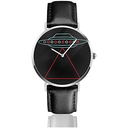 Unisex UFO Raumschiff Triangle Beam Uhren Quarz Lederuhr mit schwarzem Lederband