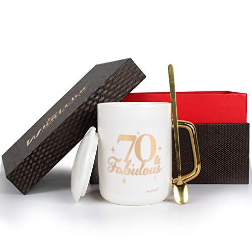 WHATCHA 70 & Fabulous Coffee Mugs Tea Cups - 70th Birthday Gifts for Men Women Friends - 13oz Ceramic