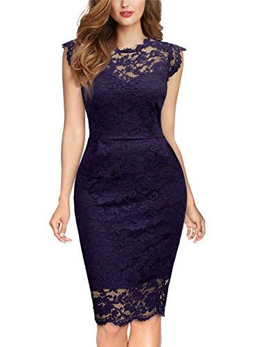 MIUSOL Damen Elegant Kleid Rundhals Knilanges Spitzenkleid Ball Stretch Abendkleider Lila S